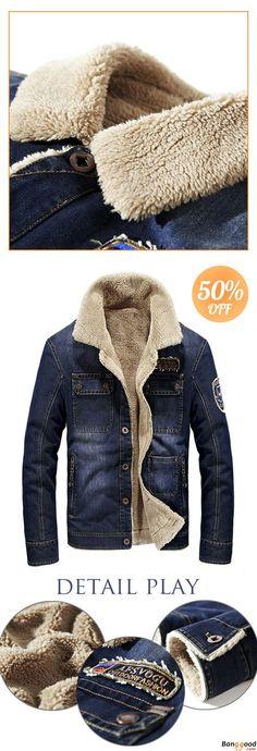 885ef7a8f9 US$79.99 + Free Shipping. Mens Fleece Turn-down Denim Winter Jacket Multi  Pocket