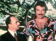 Tom Selleck and John Hillerman, aka Magnum and Higgins on the set of 'Magnum p. Tom Selleck, Magnum Pi, Pi Shirt, Aloha Shirt, Moustaches, John Hillerman, Black Toms, Blue Bloods, My Guy