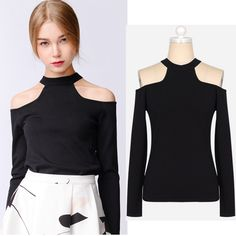 Color negro frío hombro de cuello alto manga larga de moda sexy ropa de primavera-Tallas grandes de Camisas y Blusas-Identificación del producto:60440964781-spanish.alibaba.com