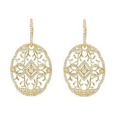 Ivanka Trump Lace Pattern Diamond Drop Earrings