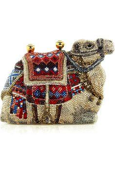 Judith Leiber ~ Camel Gobi fine crystal-embellished clutch