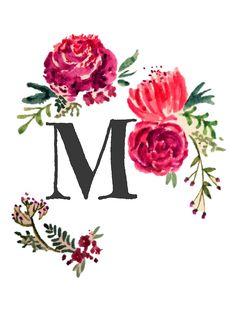 'Floral Monogram Watercolor Letra M' by SaraLoone Monogram Wallpaper, Alphabet Wallpaper, Name Wallpaper, Iphone Wallpaper, Watercolor Lettering, Watercolor Art, Letter V, Monogram Alphabet, Cute Wallpapers