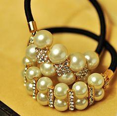 12pcs/lot Free Shipping Fashion Crystal Pearl Hair Scrunchies, Ponytail Hair Band. Woman hair accessories $20.35