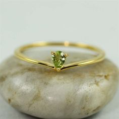 Peridot Chevron Ring by 4FireflyCollections on Etsy