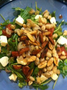 ... beans, stewed tomatoes, fresh mozarella w shallot balsamic vinegrette
