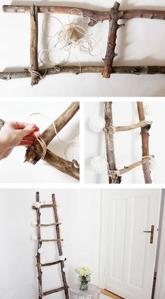 Decoration ladder DIY Tutorial diy home decor wood Dekoleiter Selber Bauen Diy Ladder, Ladder Decor, Ladder Storage, Wood Ladder, Upcycled Home Decor, Diy Home Decor, Diy Décoration, Easy Diy, Diy Tutorial