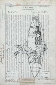J. H. L. Tuck's Submarine Vessel, 04/29/1884    From the Utility Patent Drawings file of the Patent and Trademark Office