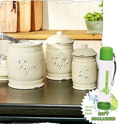Gift Included- Set of 3 White Countertop Classic Ceramic Canisters Embossed Words Tea Coffee Sugar Home Decor Accents   FREE Bonus 23 oz Water Bottle byHomecricket -- You can find out more details at the link of the image.