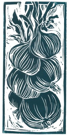 Lino cut print of a bunch of spring onions, in classic black and white or with beautiful, delicate hand painted watercolour. Each one is completely unique, I can paint them to any colour scheme you like to create your very own bespoke print. For example; I usual print and paint my