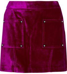 Opening Ceremony - Croc-effect Cotton-blend Velvet Mini Skirt - Plum