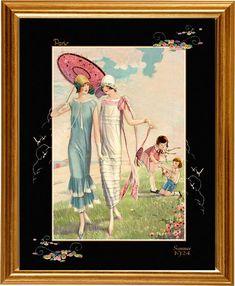 Art Deco Fashion Print Flapper Fashion with children  summer