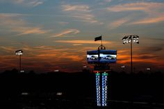 A view of the scoring pylon at sunset during the NASCAR Nationwide Series Virginia 529 College Savings 250 at Richmond International Raceway on April 27, 2012 in Richmond, Virginia.