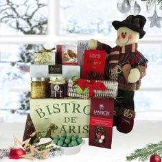 What a wonderful way to wish someone a Merry Christmas with the Bistro de Paris Christmas Gift Basket. Paris Christmas Gifts, Christmas Candy, French Truffles, Scone Mix, Truffle Boxes, The Bistro, Pretzel Rods, Gourmet Gift Baskets, Mulled Wine