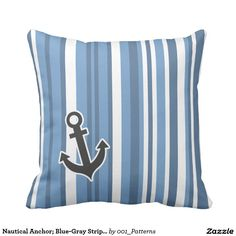 Nautical Anchor; Blue-Gray Stripes; Striped Pillow