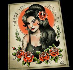 Amy Winehouse Tattoo Flash Art Print by Quyen Dinh of Parlor Tattoo Prints www.parlortattooprints.com
