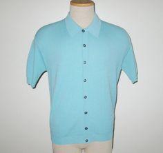 Vintage 1960s Aqua Blue Ban-Lon Shirt - Size S, M by SayItWithVintage on Etsy