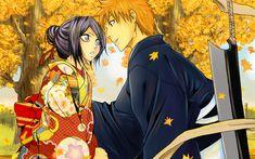 Download wallpapers 4k, Ichigo Kurosaki, Rukia Kuchiki, kimono, manga, Kurosaki Ichigo, Bleach