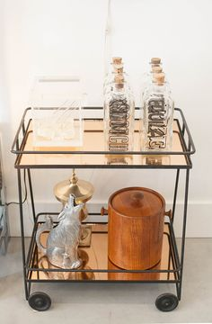 vintage copper glass bar cart