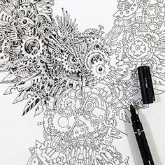 Strikingly Detailed Steampunk Owl Illustration By Doodle Artist Kerby Rosanes
