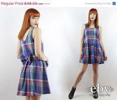 Vintage 90s Blue Plaid Babydoll Dress S M 90s Grunge by shopEBV