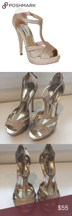 """Sparkly Steve Madden Haylow-G Heels Sparkly Steve Madden Heels. Haylow-G. Size 5.5. Zip closure in back. Approx. heel height: 5"""" sign 1"""" platform (comparable to a 4"""" heel). Textile upper/synthetic lining and sole. Steve Madden Shoes Heels"""