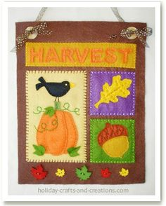 Free Harvest or Thanksgiving Wall Hanging Pattern - great for felt or wool applique