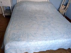 Antique French blue bedspread throw coverlet bed spread cotton woven reversible ROMANTIC design w roses fringes, vintage French bed linens Coverlet Bedding, Linen Bedding, Blue Bedspread, French Bed, Blue Home Decor, Bed Throws, Blue Tones, Bed Linens, Inspired Homes