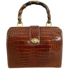 1fb7f48b4b4e Gucci Vintage Cognac Crocodile Doctor Bag with Bamboo Handle