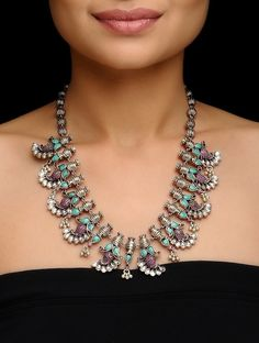 Pink-Turquoise Crystal Silver Necklace with Paisley Design