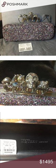 NWT Alexander McQueen Knuckle Duster Clutch Multi Alexander McQueen Knuckle Duster Clutch with multi-colored crystals.  New with tags, dust bag and box included.  Gorgeous statement piece that combines elegance with edge. Alexander McQueen Bags Clutches & Wristlets