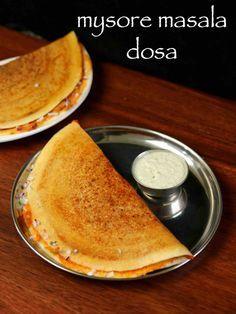 mysore masala dosa recipe, mysore dosa, mysore masala dose with step by step photo/video. south indian breakfast recipe served with chutney & sambar recipe. Indian Dosa Recipe, Masala Dosa Recipe, Indian Snacks, Indian Food Recipes, Kerala Recipes, Indian Foods, Gujarati Recipes, Indian Desserts, Snack Recipes