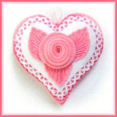 pink rose felt heart