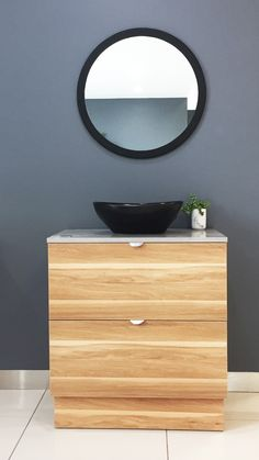 We love the colour choices for this vanity on display in the Mile End showroom. Great for an organic style bathroom. Dream Bathrooms, Bathroom Styling, Bathroom Inspiration, Showroom, Choices, Vanity, Organic, Display, Colour