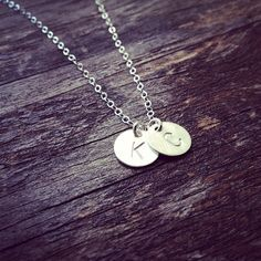 Two Initials Necklace  All 925 Sterling Silver  by cocowagner