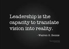 leadership quote bennis   Found on successories.com