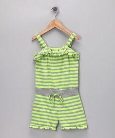 f6b774bf3e83 Lily Bleu Neon Yellow   Heather Gray Stripe Romper - Girls