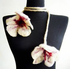 felted white flowers cluster fiber scarf statement by evalinen, $26.00