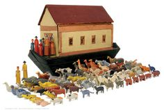 Noah's Ark Wooden And 90+ Figures German Circa 1850'S