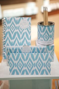 Ikat is trending. This light blue and white stationery set