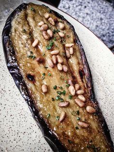 Honey roasted aubergine with pine nuts, Ibérica La Terraza, Cabot Square Al Fresco Dining, Tapas, Steak, Food Photography, Pine, Roast, Breakfast, Recipes, Pine Tree