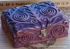 Witchcrafts Artisan Alchemy - Celtic Spiral Tree of Life Wood Tarot Box, $27.95 (http://www.witchcraftsartisanalchemy.com/celtic-spiral-tree-of-life-wood-tarot-box/)
