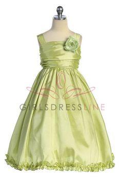 Sage Sleeveless Taffeta Flower Girl Dress K240S $29.95 on www.GirlsDressLine.Com