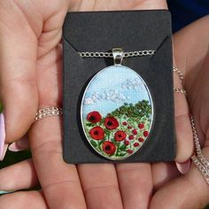 Embroidered poppies necklace Floral pendant Gift for her Needlework Jewelry Embroidery Pendant poppy meadow Jewelry Wall, Bead Jewellery, Fabric Jewelry, Jewelry Crafts, Handmade Jewelry, Silver Jewellery, Polymer Clay Embroidery, Embroidery 3d, Hand Embroidery Designs