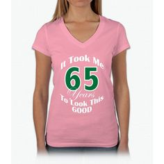 65 Years Old Womens V-Neck T-Shirt