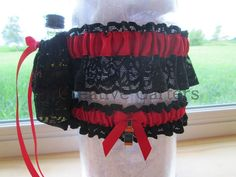 One Handcrafted Red Shooter GarterBlack Lace & by CreativeGarters