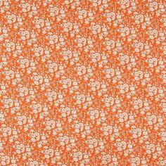 Floral Print Viscose Poplin Fabric Orange 150cm