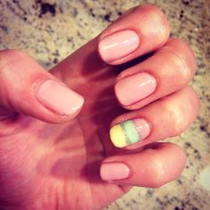 Cnd shellac blush teddy with nail art accent striped nail, sun bleached, mint convertible and ice vapour