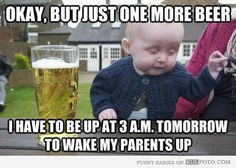 I thought this was so funny! The baby really didn't drink any beer, his face is so cute! lol and I love his sweater