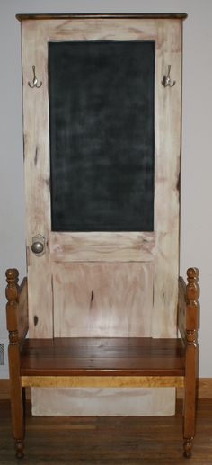 REPURPOSED HALL TREE W/BENCH & CHALKBOARD. Newly fashioned solid hall tree with bench from old door and vintage wood headboard. Perfect for your foyer, lobby or business. Custom made, one-of-a-kind!   Piche' Design - All Custom Creations (Facebook)  Contact us @ pichecustom@aol.com