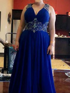 e881116ffd94ab 2019 Long A-Line V-neck Chiffon Royal Blue Prom Dresses. Hebeos. Plus Size  ...